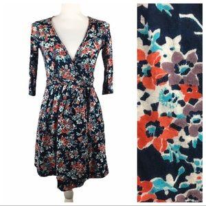 American Eagle Mini Floral 3/4 Sleeve Wrap Dress